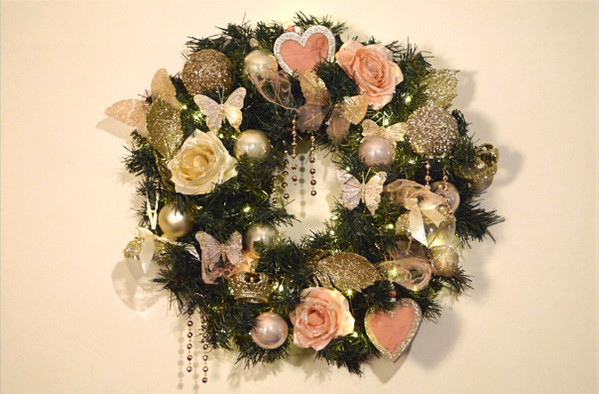Kerstkrans romantic chic