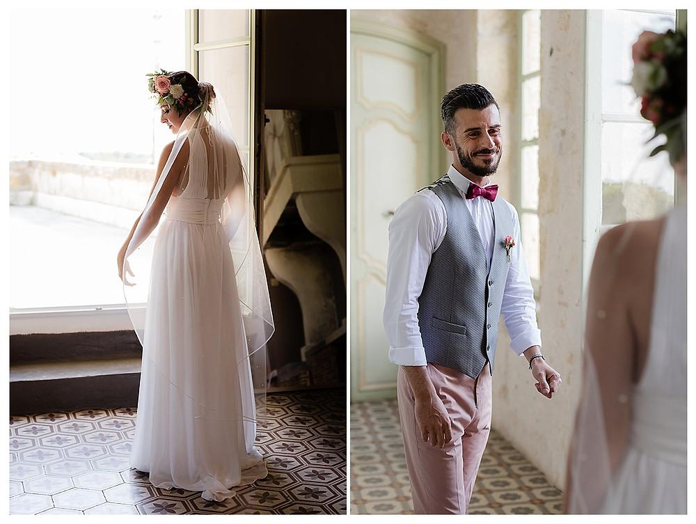 first look mariage au domaine fon de rey - les moments d'où photographie