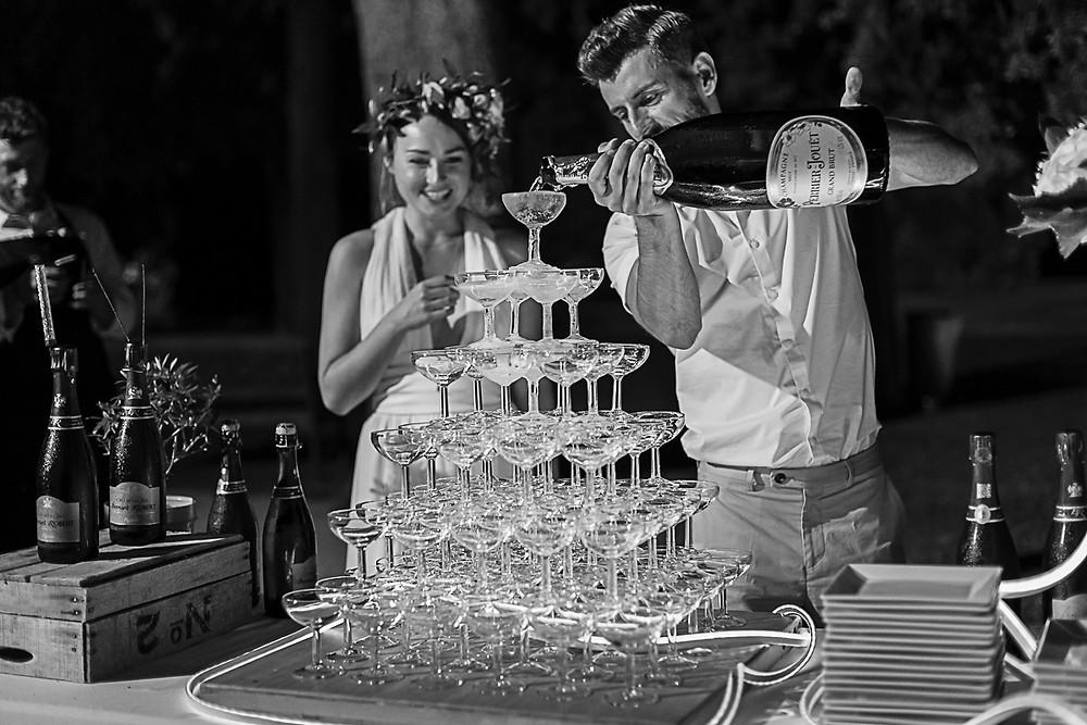 pyramide de champagne au domaine fon de rey - les moments d'où photographie