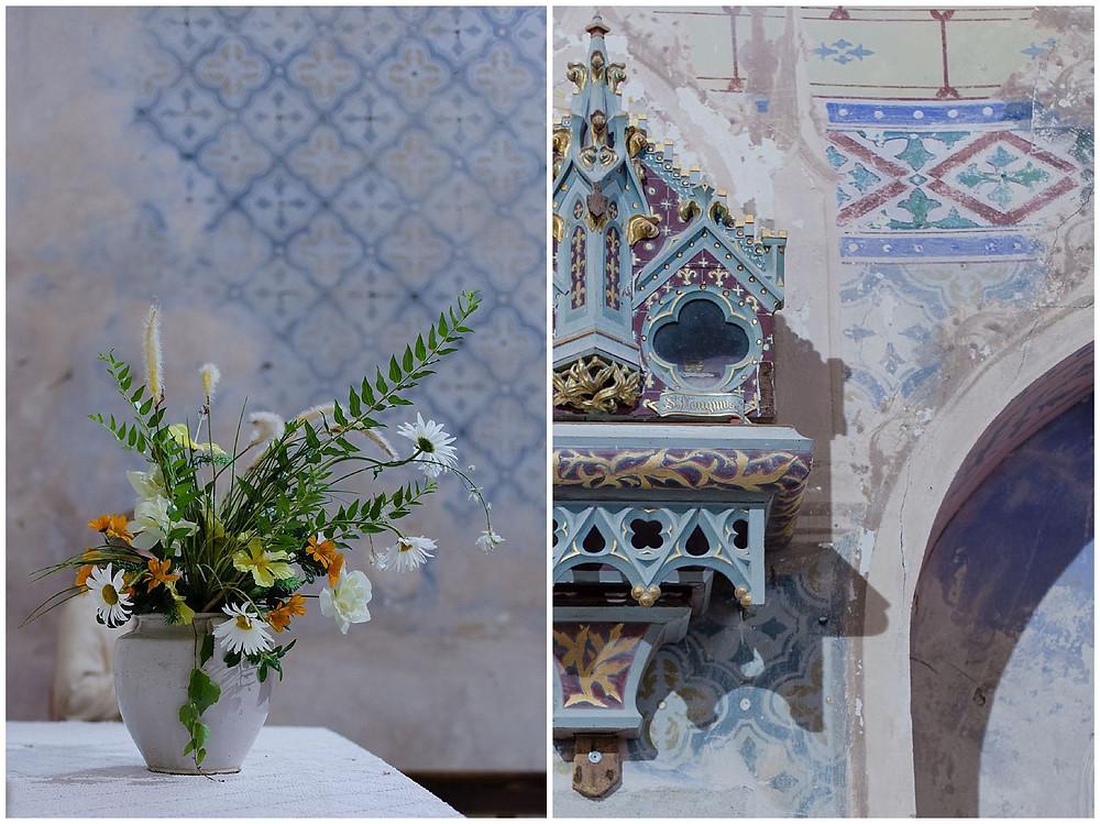 mariage champêtre dans l'église de Vieux, Tarn