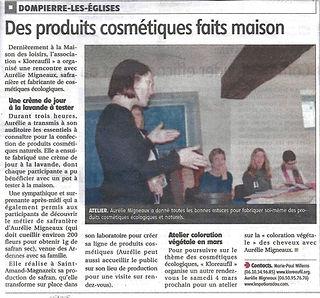 Atelier Cosmétiques à Dompierre-les-Églises - Aurélie Migneaux