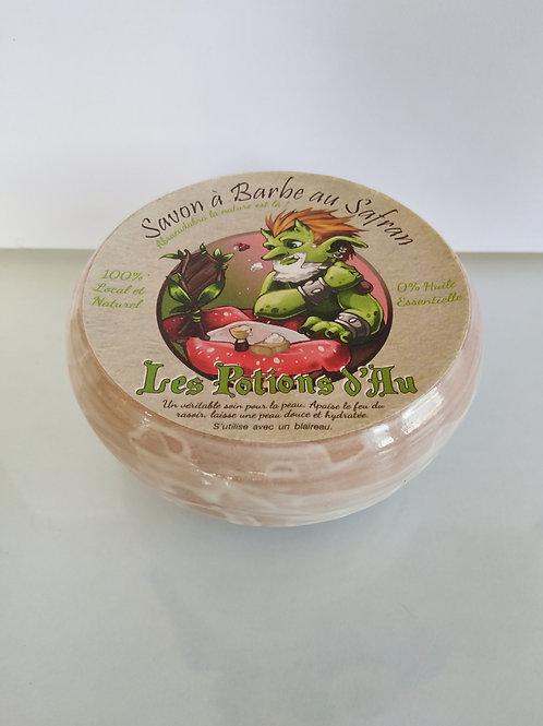 Savon à barbe au safran avec un bol en poterie