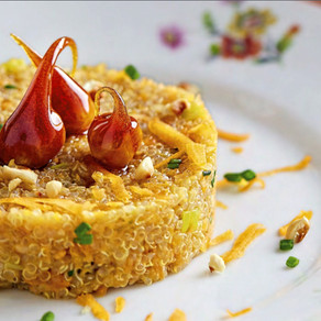 Quinoa Risottata alla Zucca con profumo di Arancia e Nocciole caramellate