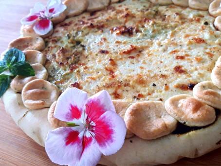 Torta Salata: Brisée al rosmarino, crema di ricotta al limone e cavolo nero