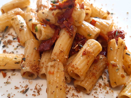 Macaroni, anchovies, dried tomatoes, capers and toasted breadcrumbs