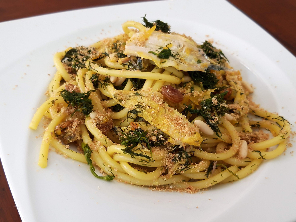Bucatini pasta with sardines and wild fennel