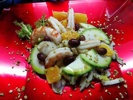 Insalatina di Finocchi con Gamberoni, Pistacchi e Arancia