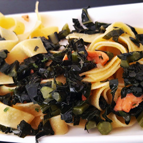 Tagliatelle with tuscan kale and smoked salmon