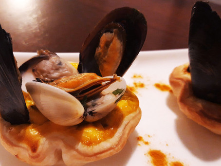 Lemon Ricotta Tartlets in Puff Pastry Basket with Clams and Mussels
