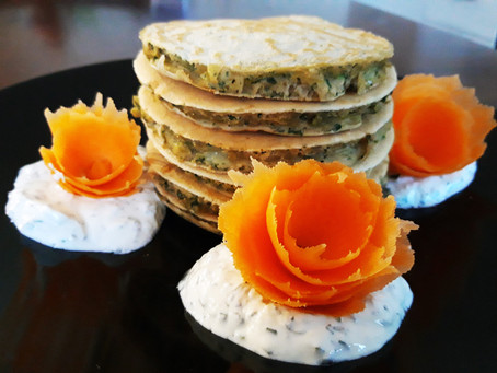 Pancake al Tarassaco con creme fraiche al Basilico