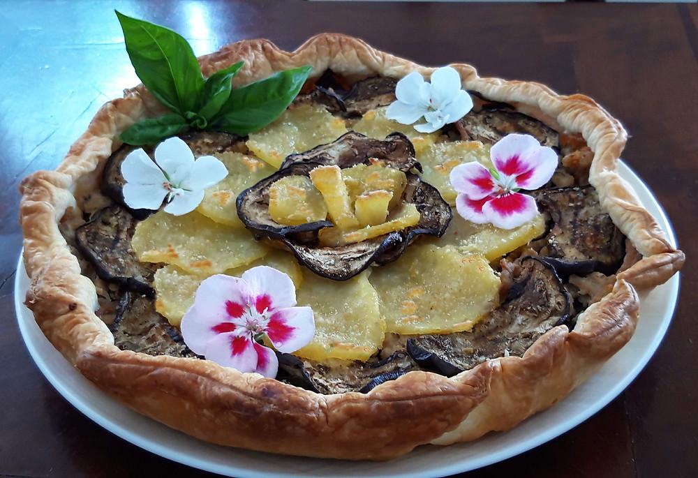 Ricetta Torta Salata con melanzane, patate e carne bianca
