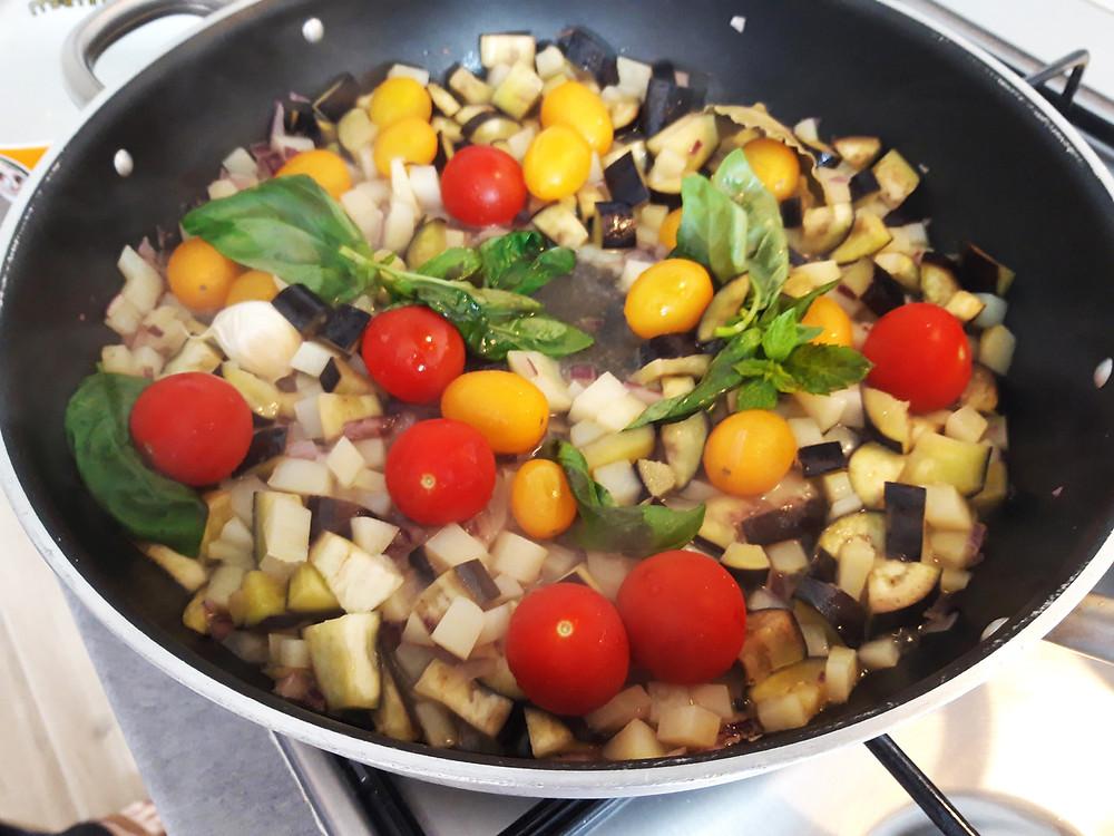 pasta Risottata con pomodorini, melanzane e patate