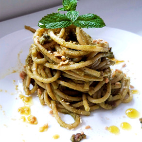 Bucatini with Broccoli cream, Capers and Taralli