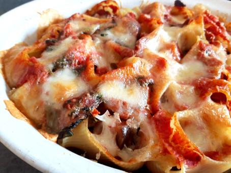Baked Pasta with Eggplant, Tomato Puree, Mozzarella and Parmesan