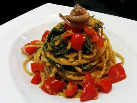 Spaghetti Integrali con agretti e acciughe