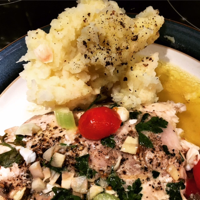 steamed fish with celeriac mash