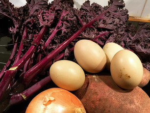 Veg Box Day2: Kale with baked eggs