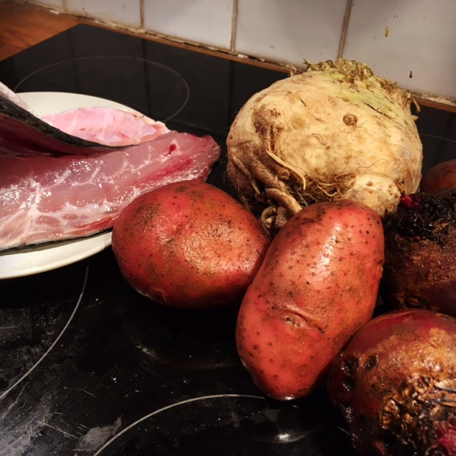 grey mullet, celeriac. potatoes, beetroot