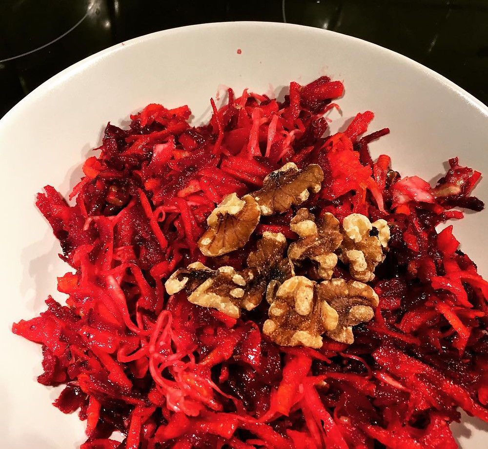 raw beetrot & carrot salad