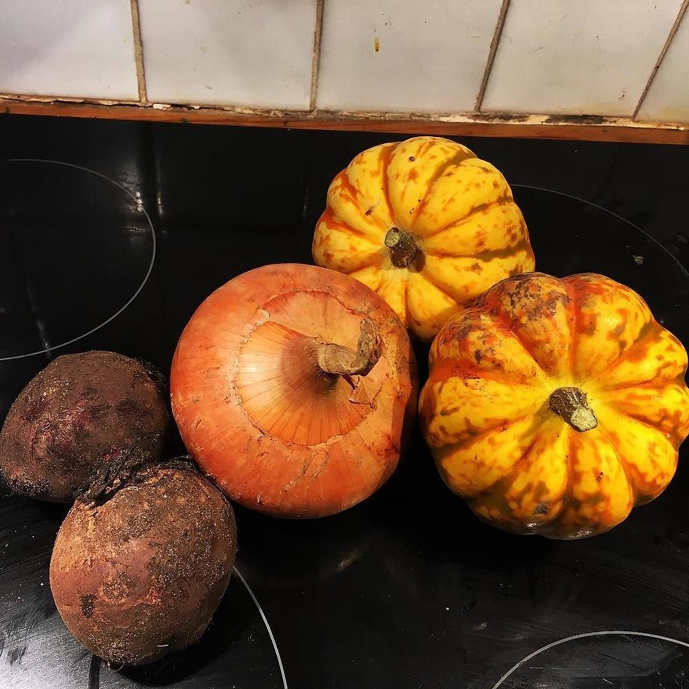 squash, beetroot, onion