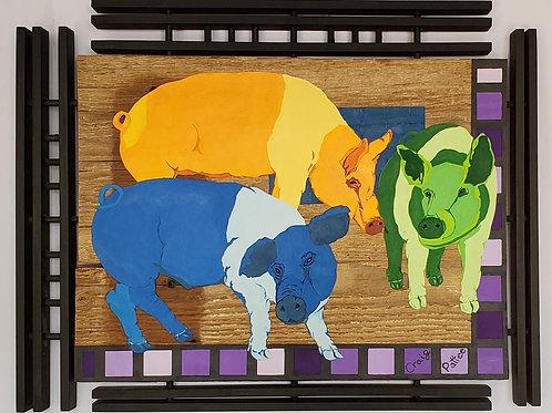 Three Little Hampshire Hogs