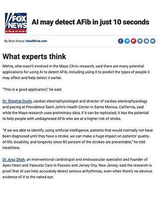 Fox News Dr Anuj Shah AI May detect afib