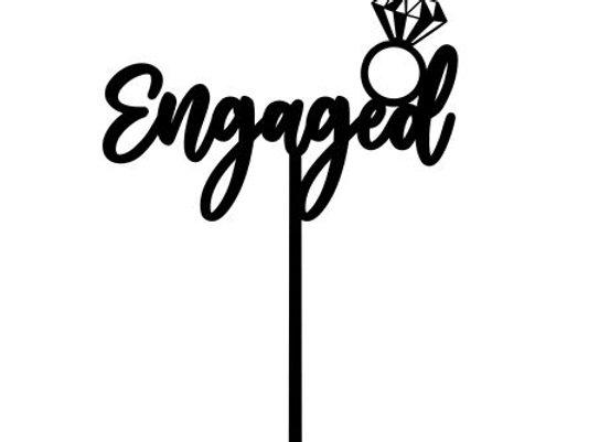 Engaged + Ring Cake Topper