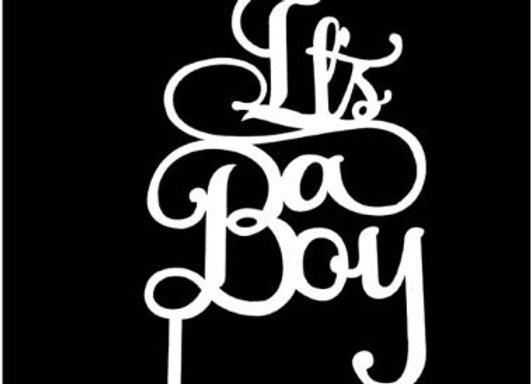 It's a Boy Cake Topper (Acrylic White)