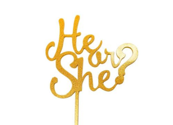 He or She Cake Topper (Acrylic Gold Sparkle)