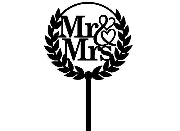 Mr & Mrs Wreath Cake Topper