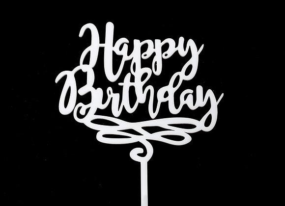 Happy Birthday Cake Topper (Acrylic White)