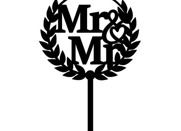 Mr & Mr Wreath Cake Topper
