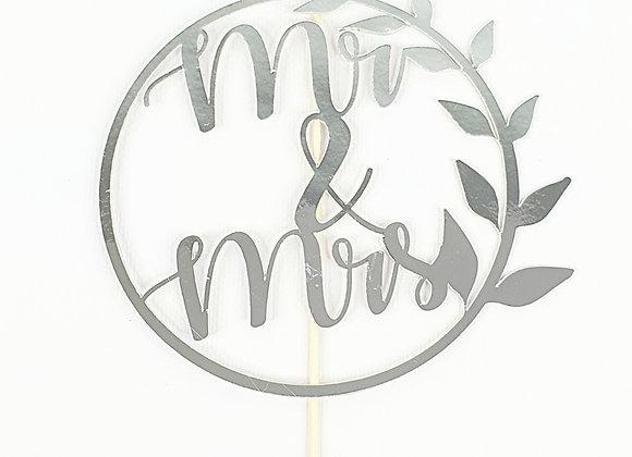 Wreath Mr & Mrs - Card Stock Cake Topper