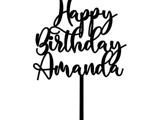Happy Birthday + Name Cake Topper