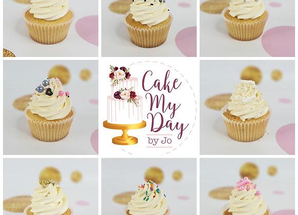 White Choc Cupcakes with Sprinkles