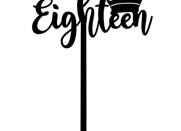 Eighteen Crown Cake Topper