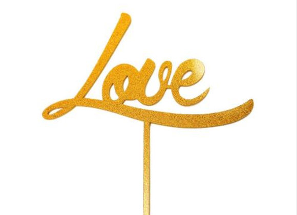 Love Cake Topper (Acrylic Gold Sparkle)