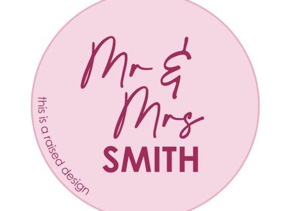 Mr & Mrs Name Raised Cookie Stamp