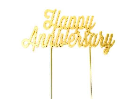 Happy Anniversary Topper (Gold)