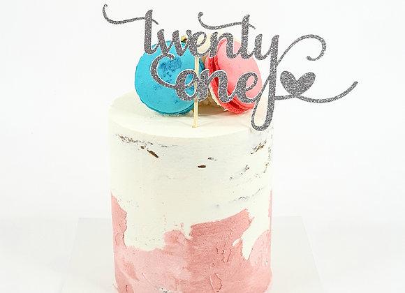 Twenty One - Card Stock Cake Topper