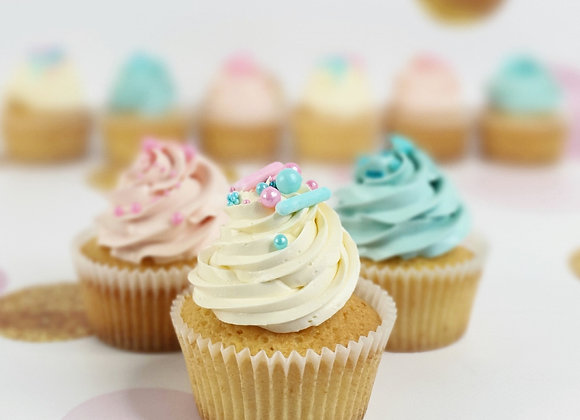 White Chocolate Gender Reveal Cupcakes with Sprinkles