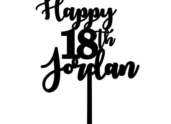 Happy 18th + Name Cake Topper