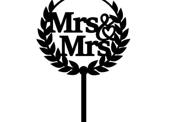 Mrs & Mrs Wreath Cake Topper