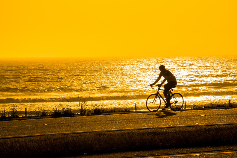 Silhouette of cyclist riding on ocean front road.