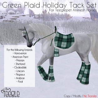 New Reskin: Plaid Holiday Tack in Blue and Green