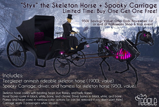 Spooky Carriage - For Teeglepet Skeleton Horse