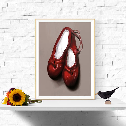 The Red Slippers, Giclee Art Print from £12.90
