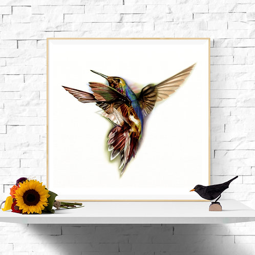 Hummingbird 11x11inch Instant Printable