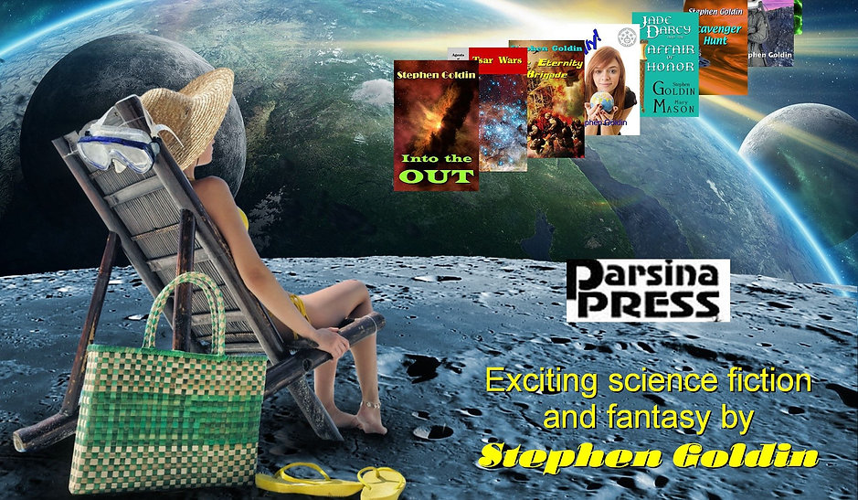 A woman in a veachchir onthe moon looking at image ofStephen Goldin's book covers