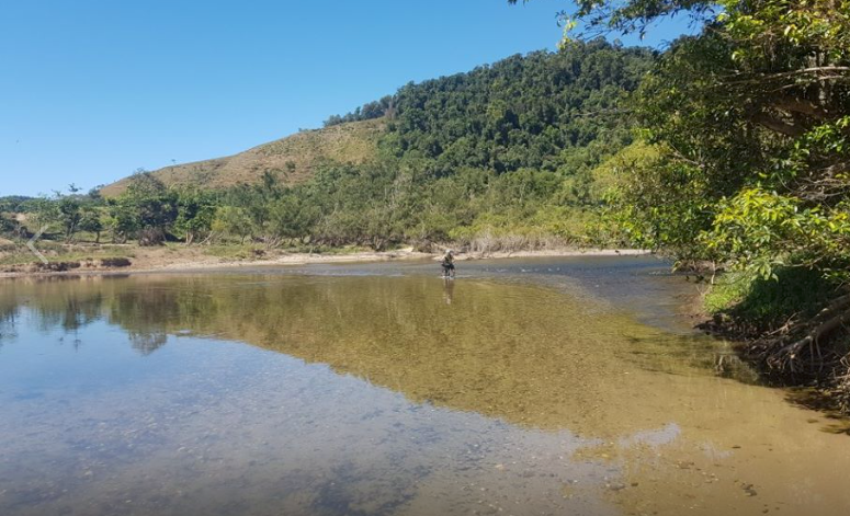 Paul Lester crossing the Daintree River terra Australis 2019 [Pic by Brendan Corbin]